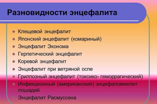 Разновидности энцефалита