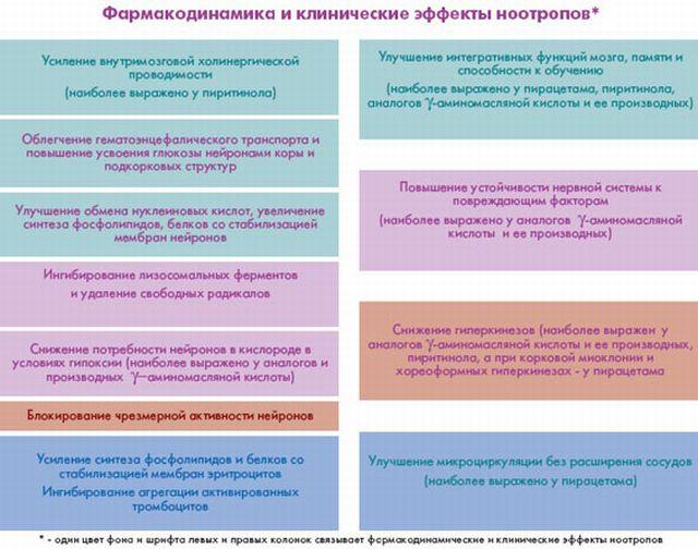 Ноотропы и воздействие на организм