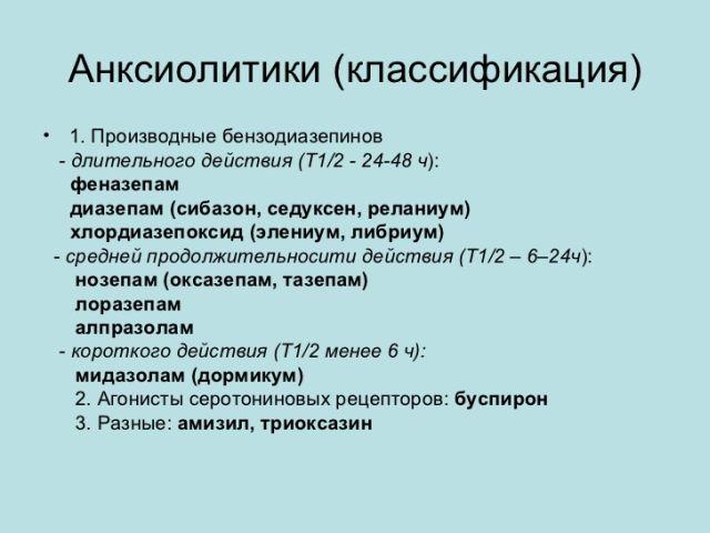 анксиолитики классификация
