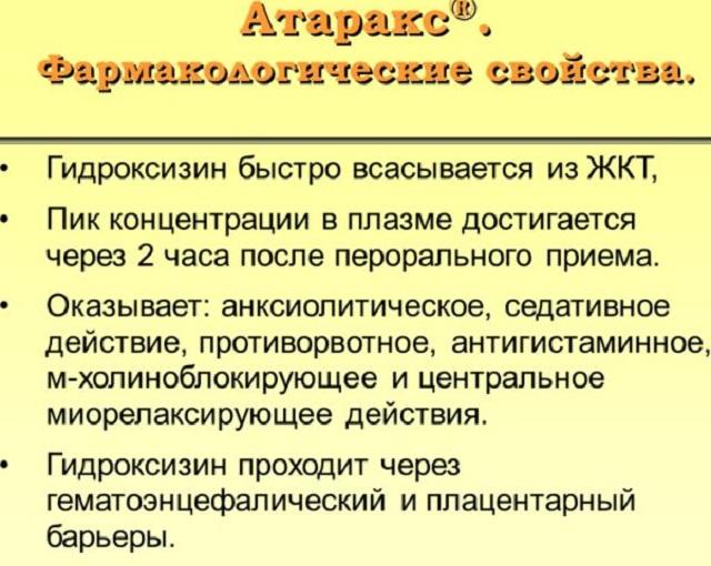 Фармсвойства Атаракса