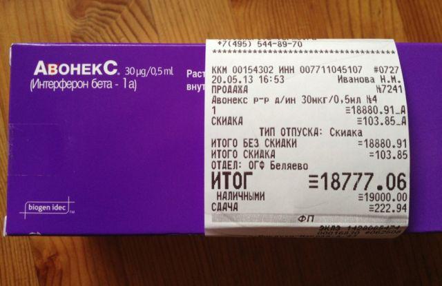 Цена упаковки Авонекса