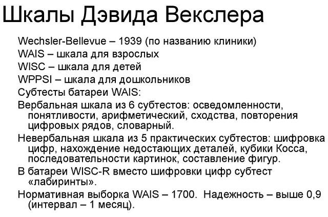 Шкалы Векслера