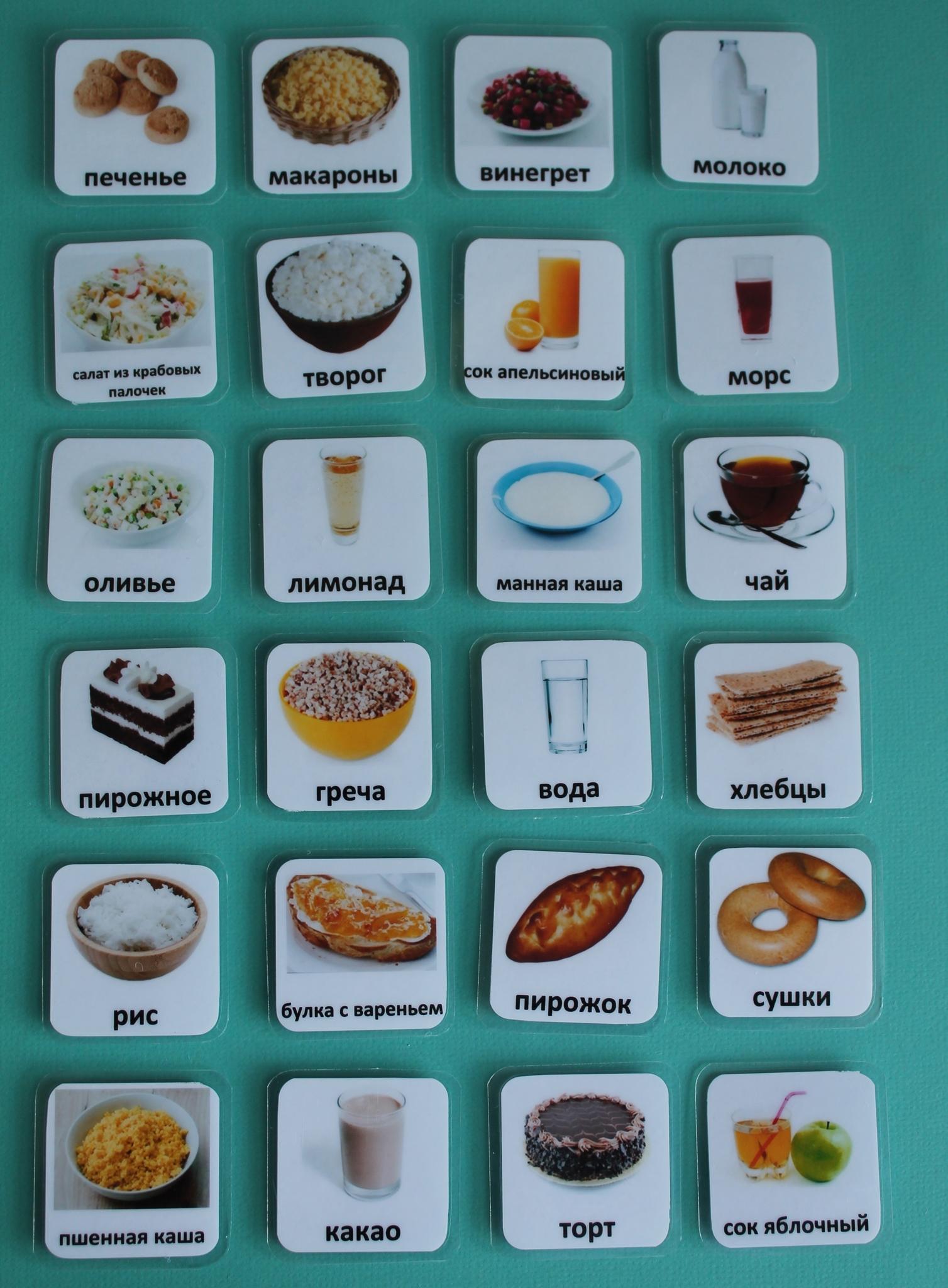 Карточки Пекс еда