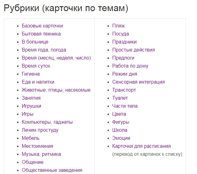 карточки Pecs категории